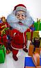 3d render z Santa Claus jest zadowolony z prezentów | Stock Illustration