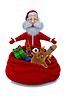Renderowania 3D Santa Claus stoi w pobliżu worek z prezentów | Stock Illustration