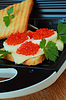 Toast with caviar and cheese | Stock Foto