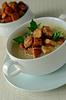 Gorąca zupa z grzankami | Stock Foto