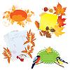 Herbst-Rahmen mit Leaves, Stücke von Papier und Vögel