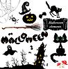 Набор элементов Хэллоуина - тыквы, летучие мыши, призрак | Векторный клипарт