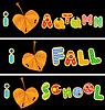Otoñal corazón está hecho de hojas y OTOÑO palabras, | Ilustración vectorial