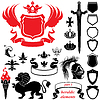 Set heraldische Silhouetten Elemente - Ikonen