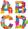 ABCD  - 英文字母 - 字母的礼物 | 向量插图