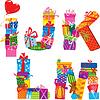 Ijklm - alfabeto Inglés - letras de regalos | Ilustración vectorial