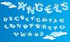 Alphabet mit lustigen Engel Briefe und Wolken