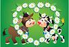 Cartoon besos vacas y la frontera manzanilla | Ilustración vectorial