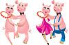 glückliches tanzendes Karikatur-Paar Schweine