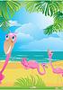 rosa Flamingos auf schönem tropischen Strand