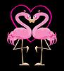 paar rosa Flamingos und Herz (I Love Sun