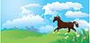 Paisaje con caballos y las nubes | Ilustración vectorial