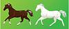 2 Pferde auf grünem Hintergrund