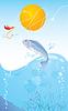 Pescado y gancho | Ilustración vectorial