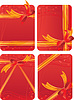 Set von Geschenkkarten - rotem Hintergrund mit Herzen -