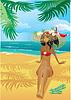 Chica en la playa tropical con el sombrero de paja | Ilustración vectorial