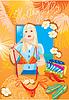 Hermosa niña blondy probar bikini y soñando | Ilustración vectorial