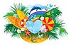 Projektowanie lato z palmami, muszli i deski surfingowe | Stock Vector Graphics