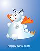 Neues Jahr Postkarte funny snow dragon
