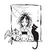 Bebé bruja con gato negro cuervo y la araña | Ilustración vectorial