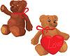 Lindo oso de peluche con el corazón rojo del amor - 2 peluches | Ilustración vectorial