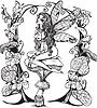 Крошечный лесной обнаженный эльф-девушка на грибе | Векторный клипарт