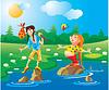 2 gnomos - contra viento y marea - ir al otro lado del río | Ilustración vectorial