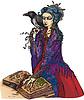 Frau Hexe mit schwarzer Rabe liest alte Magie