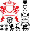 Set heraldische Silhouetten Elemente - Löwe, blazon