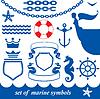 Набор морских элементов - цепь, якорь, корона | Векторный клипарт