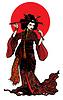 Schöne japanische Frau mit Haarnadeln mit