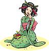 Schöne japanische Frau mit Kirschen