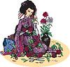 Schöne japanische Frau mit Blumen (Geisha und
