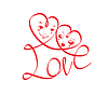 마음과 재미 있은 얼굴을 가진 단어 LOVE | Stock Vector Graphics