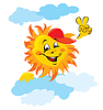 Smiling sun cartoon with clouds | Stock Vector Graphics