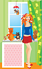 ID 3465600 | Pretty girl with teddy bear toys standing next to | 벡터 클립 아트 | CLIPARTO