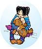 Nettes kleines Mädchen kleiden lustige Hausschuhe mit