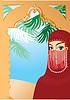 Portrait Grenze mit schönen arabischen Frau wearin