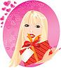 Retrato de niña rubia con cajita de regalo rojo en | Ilustración vectorial