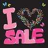 Sale-Konzept mit Herz und Schmetterling