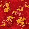 Nahtlose Muster mit Vintage heraldischen Silhouetten