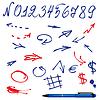 Zahlen und Symbole (Pfeile) Satz - Bild