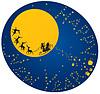 Navidad y Año Nuevo tarjeta con renos voladores | Ilustración vectorial