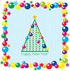 Árbol de navidad, bolas y estrellas en perfecta | Ilustración vectorial