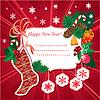 Calcetín de Navidad con los regalos en fondo rojo | Ilustración vectorial