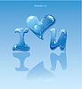 Wassertropfen - Herz und Phrase ich liebe dich