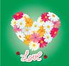 Corazón está hecha de margaritas sobre fondo verde. | Ilustración vectorial