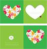 Corazones de margaritas sobre verde | Ilustración vectorial
