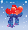 Dos corazones conjunción de bufanda caliente. Tarjeta de San Valentín | Ilustración vectorial