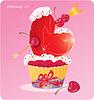 Magdalena linda con el corazón, flecha y cereza. | Ilustración vectorial